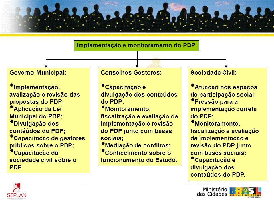 Implementação e monitoramento do PDP Governo Municipal: Implementação, avalização e revisão das propostas do PDP; Aplicação da Lei Municipal do PDP; Divulgação dos contéúdos do PDP; Capacitação de gestores públicos sobre o PDP; Capacitação da sociedade civil sobre o PDP.
