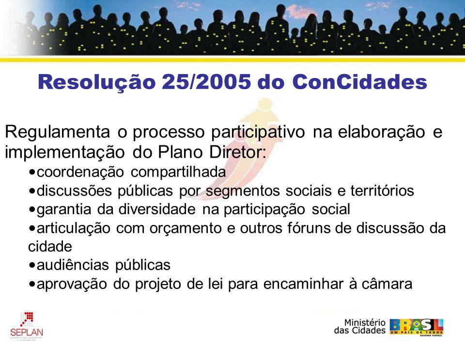 Regulamenta o processo participativo na elaboração e implementação do Plano Diretor: coordenação compartilhada discussões públicas por segmentos sociais e territórios garantia da diversidade na participação social articulação com orçamento e outros fóruns de discussão da cidade audiências públicas aprovação do projeto de lei para encaminhar à câmara Resolução 25/2005 do ConCidades