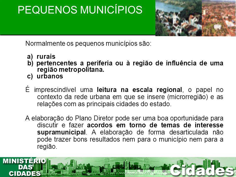13 PLANEJAMENTO PARTICIPATIVO PEQUENOS MUNICÍPIOS Normalmente os pequenos municípios são: a) rurais b) pertencentes a periferia ou à região de influên
