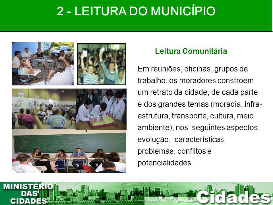 15 Leitura Comunitária Em reuniões, oficinas, grupos de trabalho, os moradores constroem um retrato da cidade, de cada parte e dos grandes temas (mora