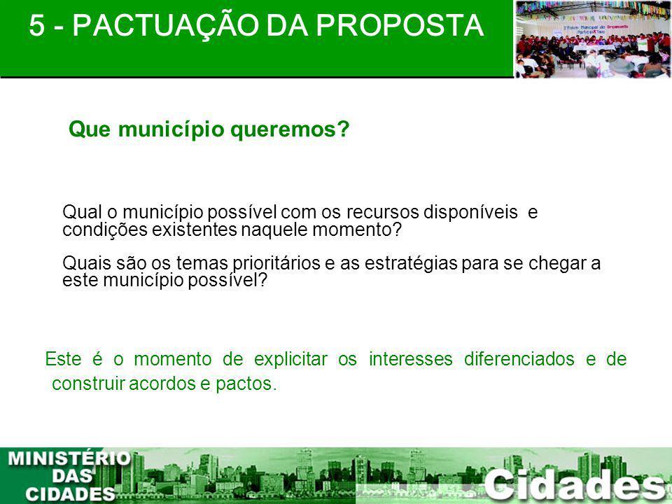 20 Qual o município possível com os recursos disponíveis e condições existentes naquele momento? Quais são os temas prioritários e as estratégias para
