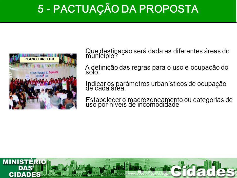 21 Que destinação será dada as diferentes áreas do município? A definição das regras para o uso e ocupação do solo. Indicar os parâmetros urbanísticos