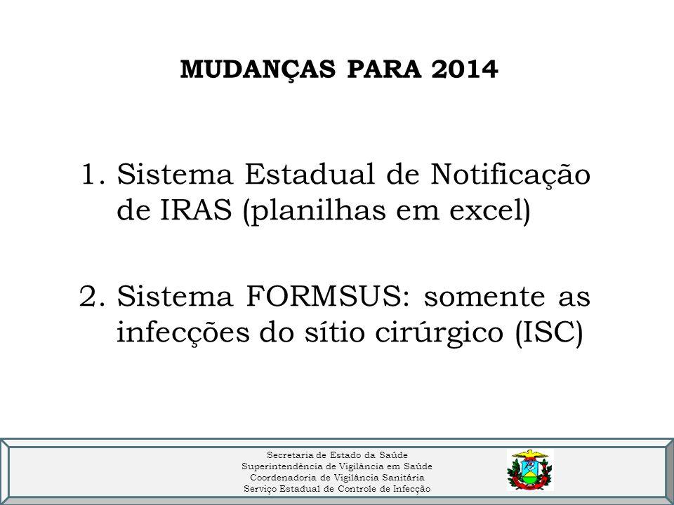 MUDANÇAS PARA 2014 1.Sistema Estadual de Notificação de IRAS (planilhas em excel) 2.Sistema FORMSUS: somente as infecções do sítio cirúrgico (ISC) Secretaria de Estado da Saúde Superintendência de Vigilância em Saúde Coordenadoria de Vigilância Sanitária Serviço Estadual de Controle de Infecção