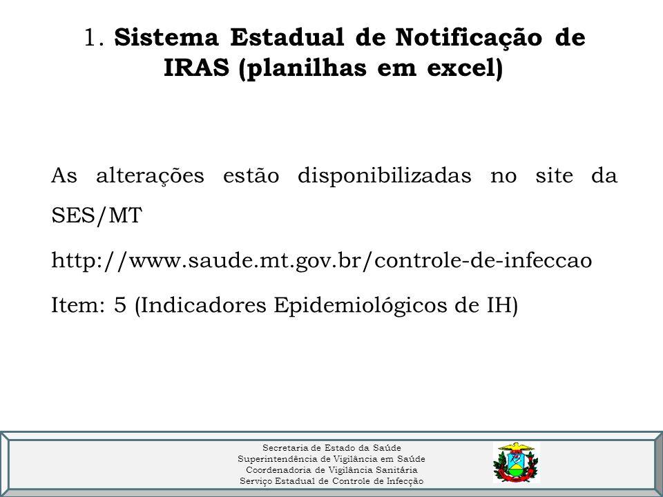 1. Sistema Estadual de Notificação de IRAS (planilhas em excel) As alterações estão disponibilizadas no site da SES/MT http://www.saude.mt.gov.br/cont