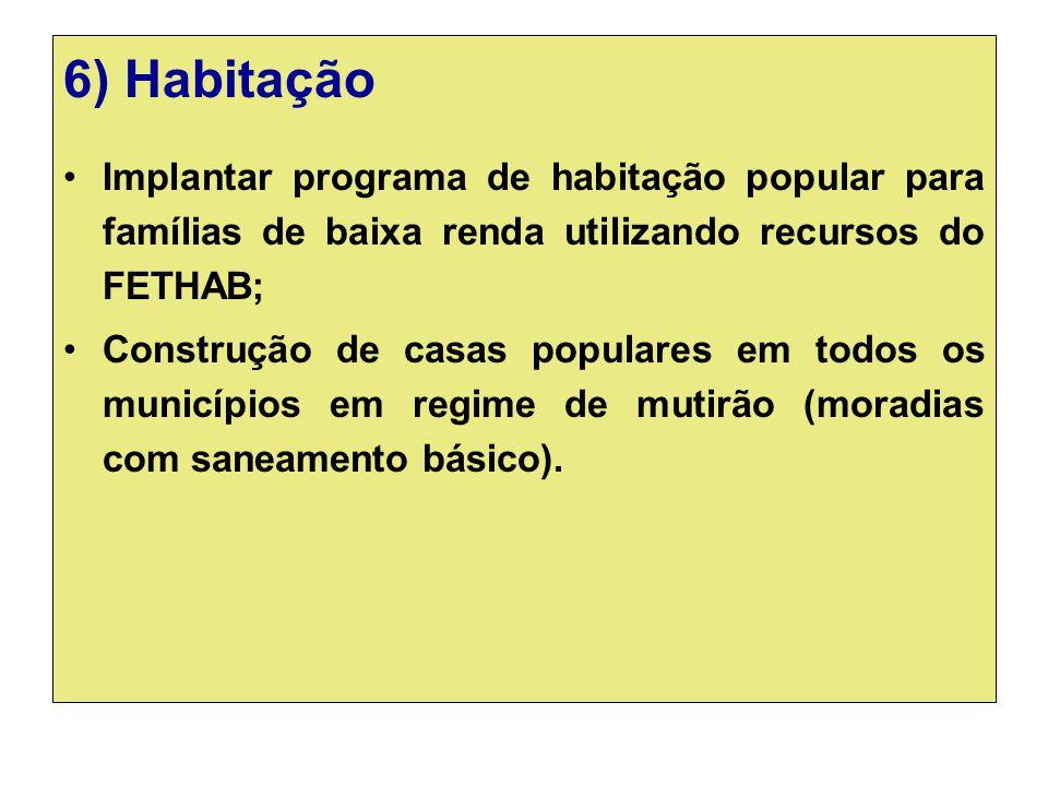 6) Habitação Implantar programa de habitação popular para famílias de baixa renda utilizando recursos do FETHAB; Construção de casas populares em todo