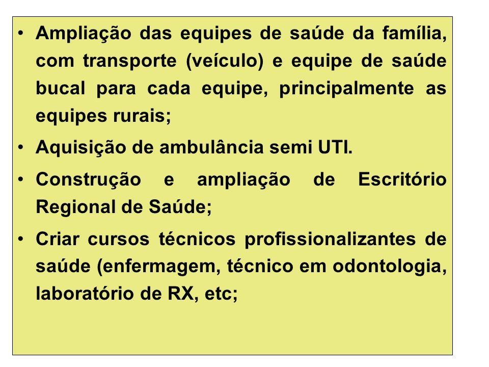 Ampliação das equipes de saúde da família, com transporte (veículo) e equipe de saúde bucal para cada equipe, principalmente as equipes rurais; Aquisi
