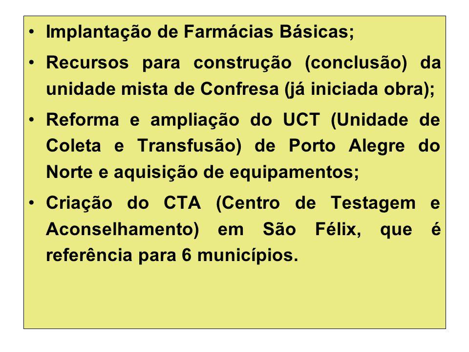 Implantação de Farmácias Básicas; Recursos para construção (conclusão) da unidade mista de Confresa (já iniciada obra); Reforma e ampliação do UCT (Un