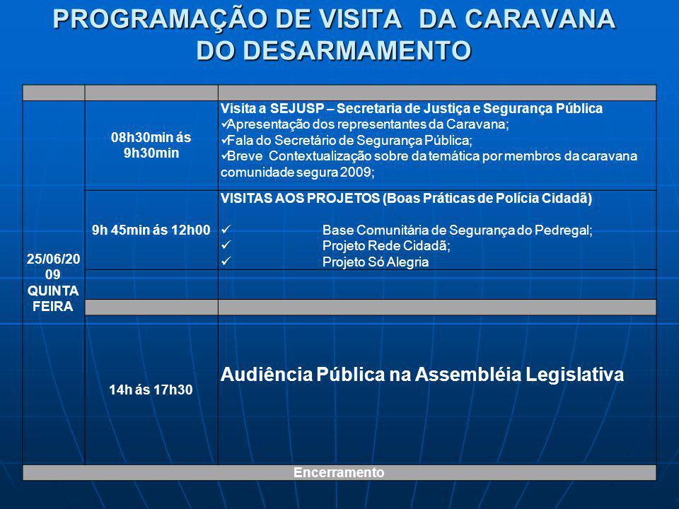 PROGRAMAÇÃO DE VISITA DA CARAVANA DO DESARMAMENTO 25/06/20 09 QUINTA FEIRA 08h30min ás 9h30min Visita a SEJUSP – Secretaria de Justiça e Segurança Púb