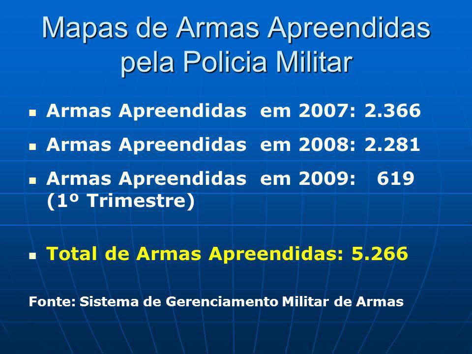 Mapas de Armas Apreendidas pela Policia Militar Armas Apreendidas em 2007: 2.366 Armas Apreendidas em 2008: 2.281 Armas Apreendidas em 2009: 619 (1º Trimestre) Total de Armas Apreendidas: 5.266 Fonte: Sistema de Gerenciamento Militar de Armas