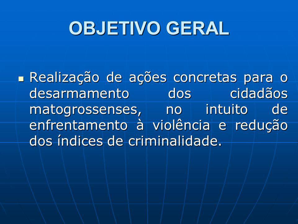 OBJETIVO GERAL Realização de ações concretas para o desarmamento dos cidadãos matogrossenses, no intuito de enfrentamento à violência e redução dos índices de criminalidade.