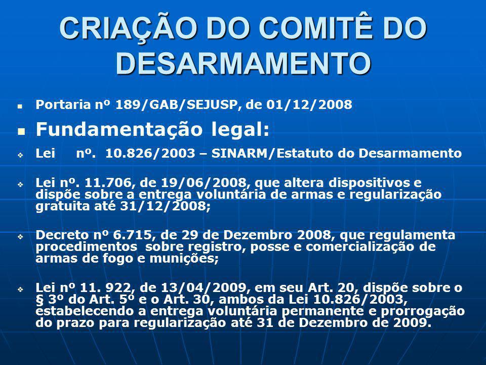 CRIAÇÃO DO COMITÊ DO DESARMAMENTO Portaria nº 189/GAB/SEJUSP, de 01/12/2008 Fundamentação legal: Lei nº. 10.826/2003 – SINARM/Estatuto do Desarmamento