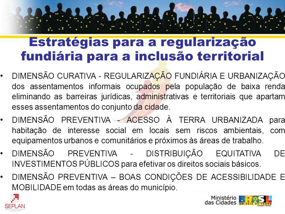 Estratégias para a regularização fundiária para a inclusão territorial DIMENSÃO CURATIVA - REGULARIZAÇÃO FUNDIÁRIA E URBANIZAÇÃO dos assentamentos inf