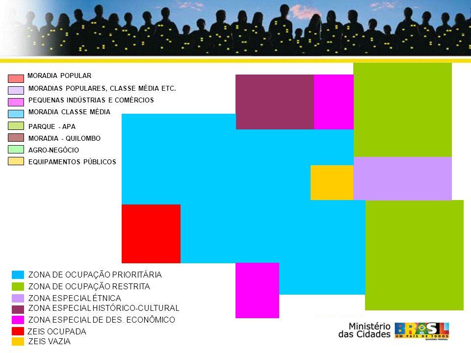MORADIA POPULAR MORADIAS POPULARES, CLASSE MÉDIA ETC. PEQUENAS INDÚSTRIAS E COMÉRCIOS MORADIA CLASSE MÉDIA PARQUE - APA MORADIA - QUILOMBO AGRO-NEGÓCI