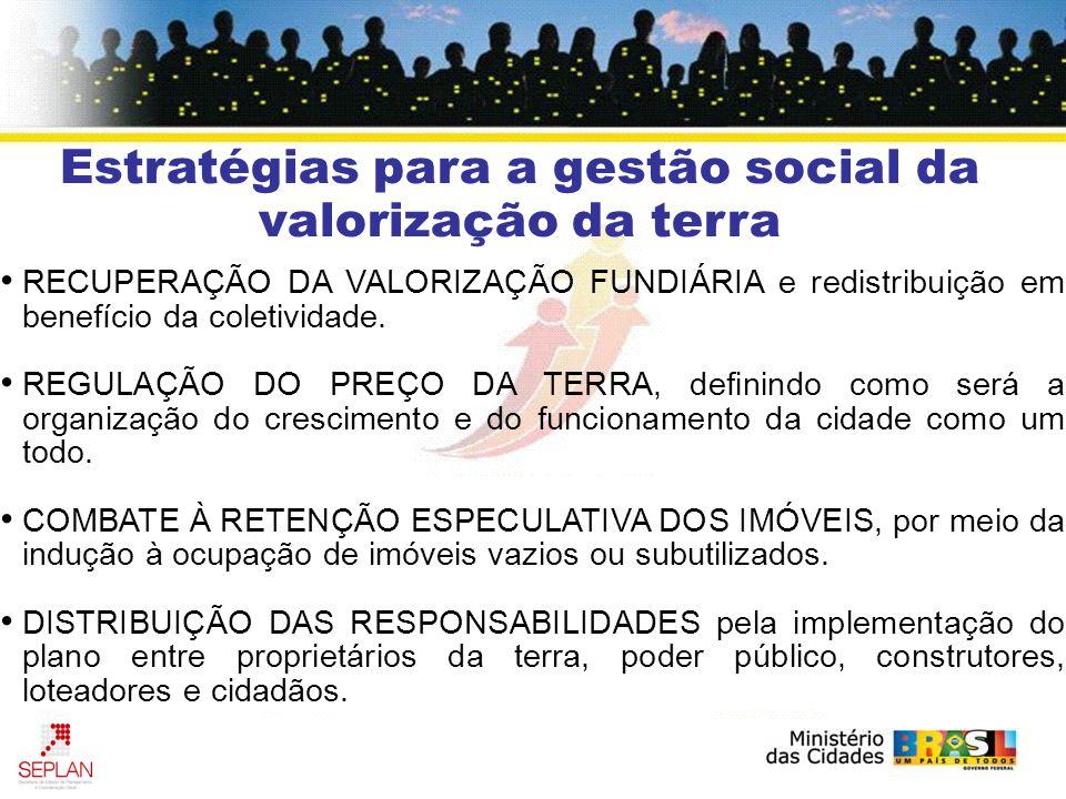 Estratégias para a gestão social da valorização da terra RECUPERAÇÃO DA VALORIZAÇÃO FUNDIÁRIA e redistribuição em benefício da coletividade. REGULAÇÃO