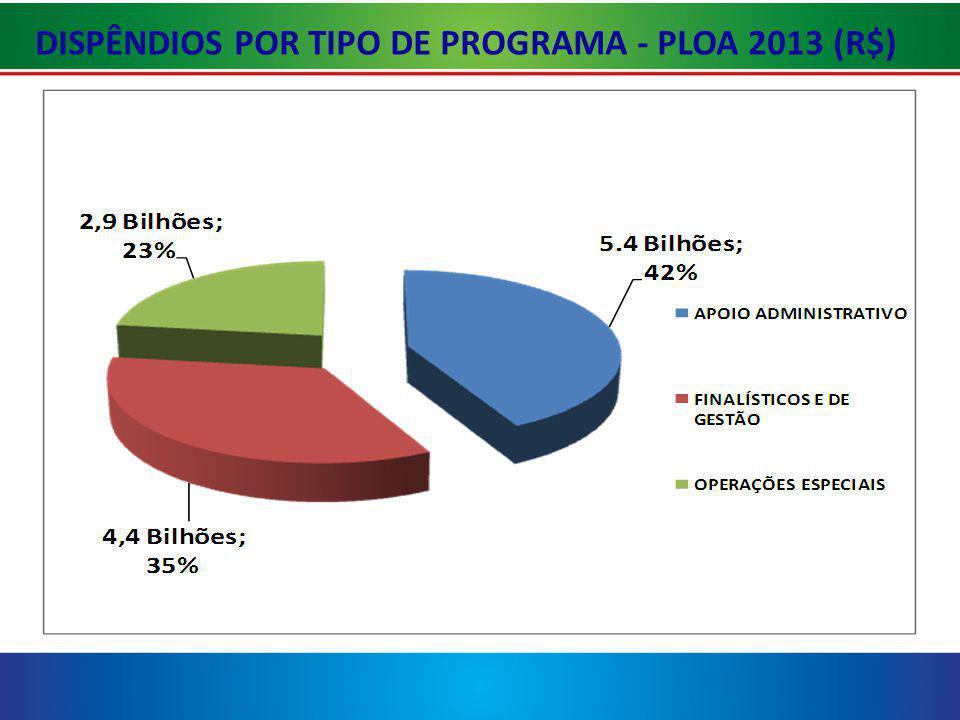DISPÊNDIOS POR TIPO DE PROGRAMA - PLOA 2013 (R$)