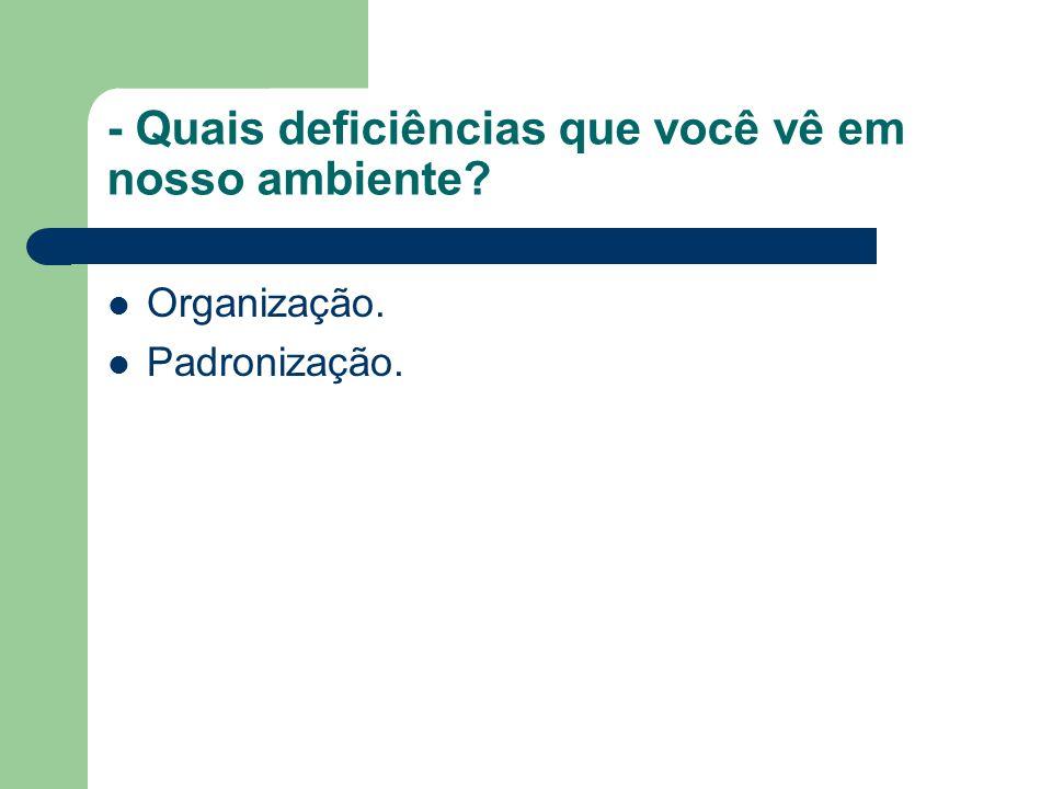 - Quais deficiências que você vê em nosso ambiente Organização. Padronização.