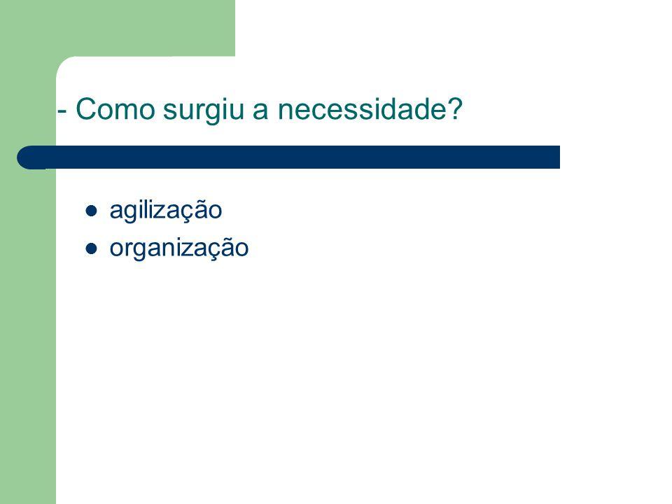 - Como surgiu a necessidade agilização organização