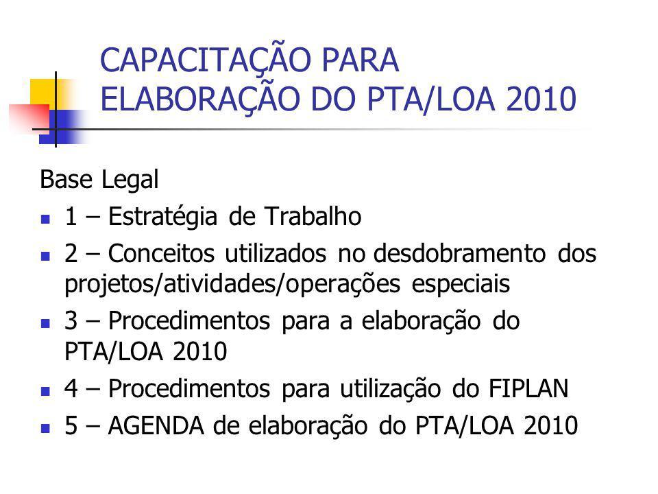 CAPACITAÇÃO PARA ELABORAÇÃO DO PTA/LOA 2010 Base Legal 1 – Estratégia de Trabalho 2 – Conceitos utilizados no desdobramento dos projetos/atividades/op