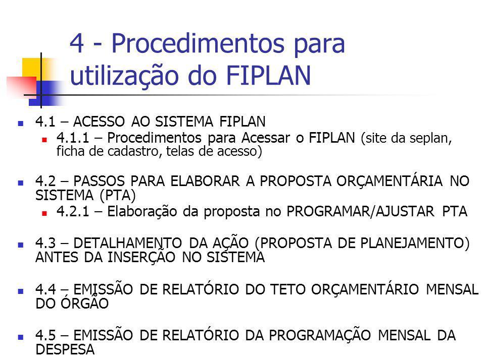 4.1 – ACESSO AO SISTEMA FIPLAN 4.1.1 – Procedimentos para Acessar o FIPLAN (site da seplan, ficha de cadastro, telas de acesso) 4.2 – PASSOS PARA ELAB