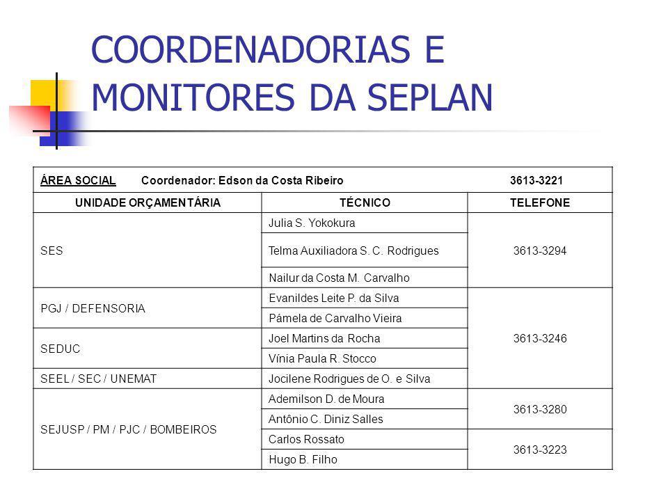 COORDENADORIAS E MONITORES DA SEPLAN ÁREA SOCIAL Coordenador: Edson da Costa Ribeiro 3613-3221 UNIDADE ORÇAMENTÁRIATÉCNICOTELEFONE SES Julia S. Yokoku