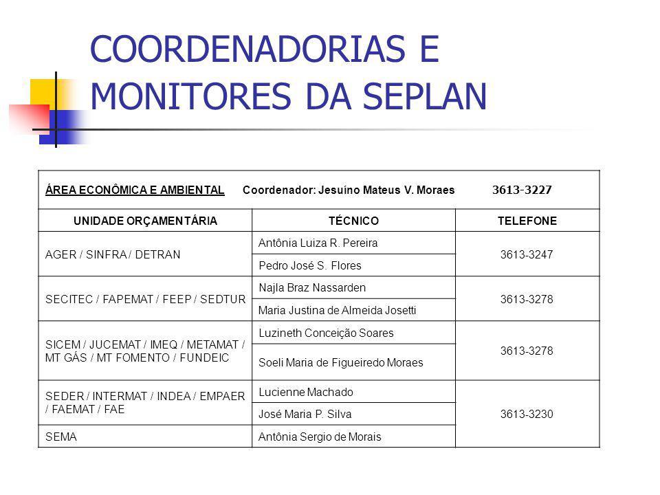 COORDENADORIAS E MONITORES DA SEPLAN ÁREA ECONÔMICA E AMBIENTAL Coordenador: Jesuíno Mateus V. Moraes 3613-3227 UNIDADE ORÇAMENTÁRIATÉCNICOTELEFONE AG