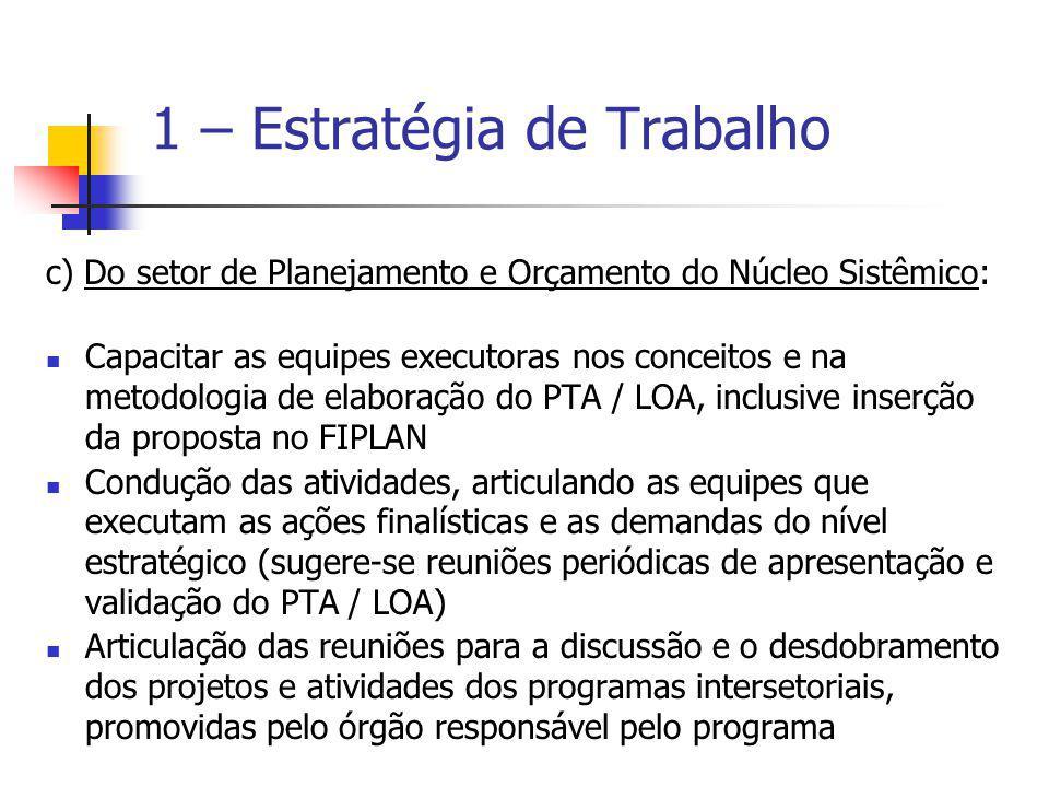 c) Do setor de Planejamento e Orçamento do Núcleo Sistêmico: Capacitar as equipes executoras nos conceitos e na metodologia de elaboração do PTA / LOA