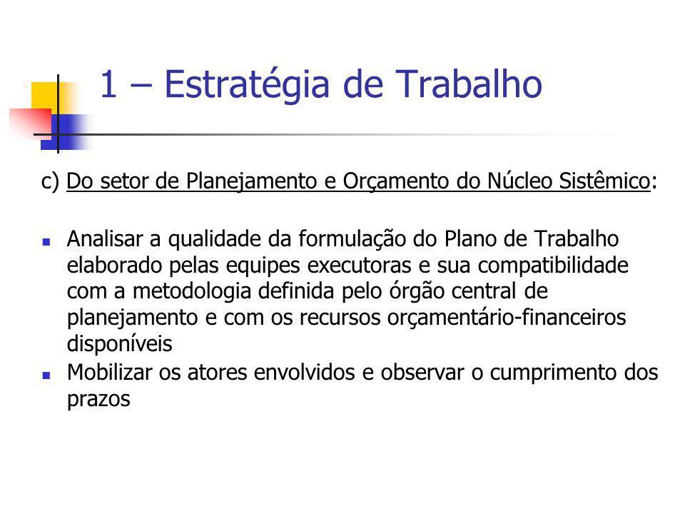 c) Do setor de Planejamento e Orçamento do Núcleo Sistêmico: Analisar a qualidade da formulação do Plano de Trabalho elaborado pelas equipes executora