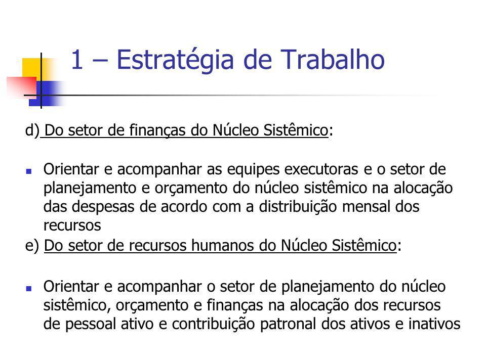 d) Do setor de finanças do Núcleo Sistêmico: Orientar e acompanhar as equipes executoras e o setor de planejamento e orçamento do núcleo sistêmico na