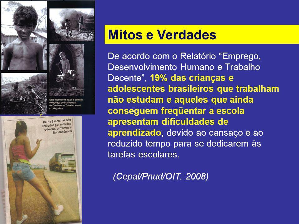 Mitos e Verdades De acordo com o Relatório Emprego, Desenvolvimento Humano e Trabalho Decente, 19% das crianças e adolescentes brasileiros que trabalh