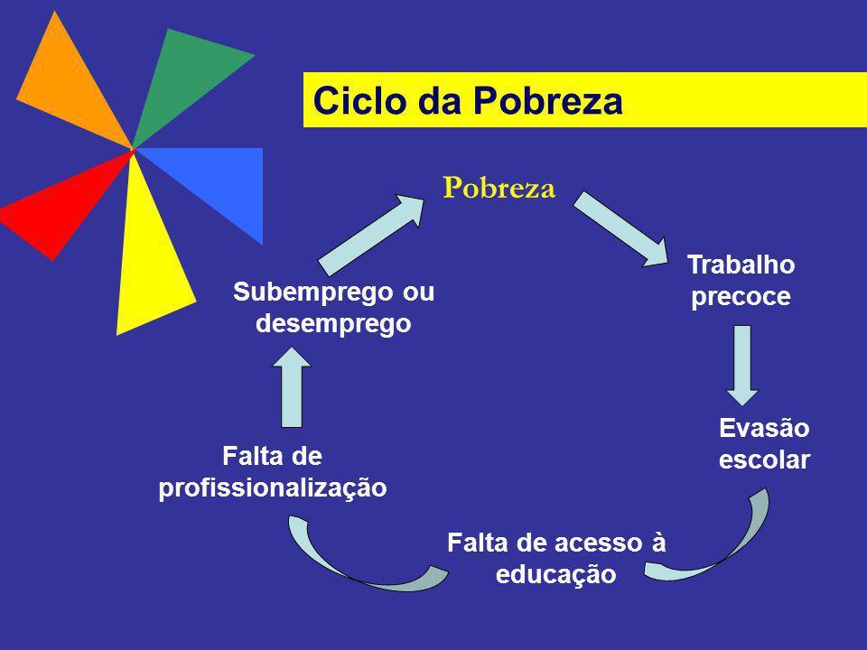 Trabalho precoce Evasão escolar Falta de acesso à educação Falta de profissionalização Subemprego ou desemprego Pobreza Ciclo da Pobreza