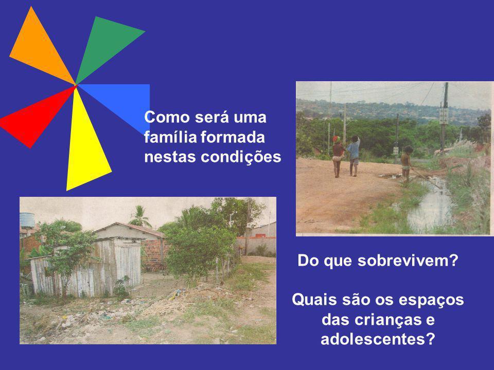 Do que sobrevivem? Quais são os espaços das crianças e adolescentes? Como será uma família formada nestas condições