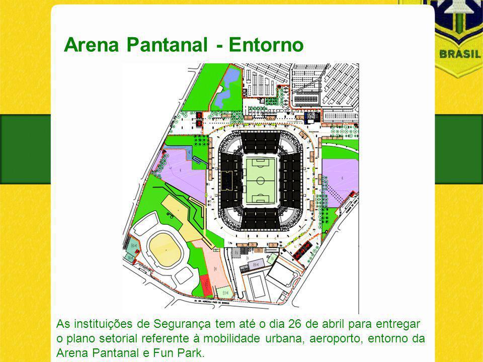 Arena Pantanal - Entorno As instituições de Segurança tem até o dia 26 de abril para entregar o plano setorial referente à mobilidade urbana, aeroporto, entorno da Arena Pantanal e Fun Park.