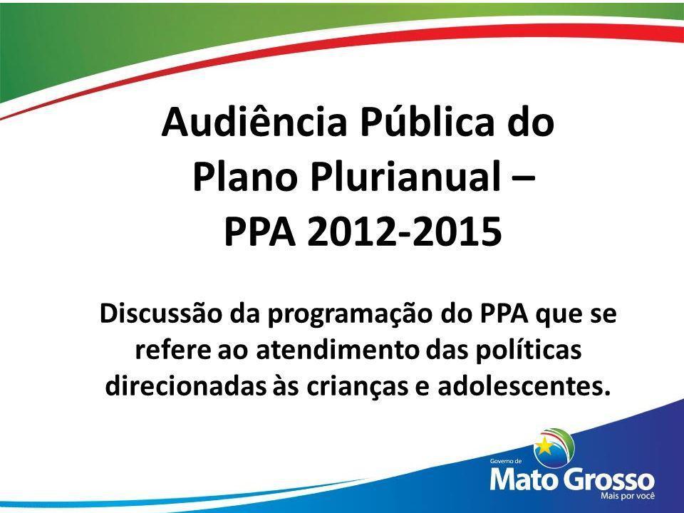 Audiência Pública do Plano Plurianual – PPA 2012-2015 Discussão da programação do PPA que se refere ao atendimento das políticas direcionadas às crian