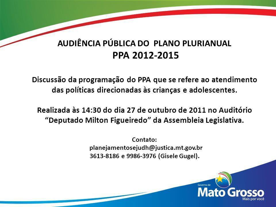 AUDIÊNCIA PÚBLICA DO PLANO PLURIANUAL PPA 2012-2015 Discussão da programação do PPA que se refere ao atendimento das políticas direcionadas às criança