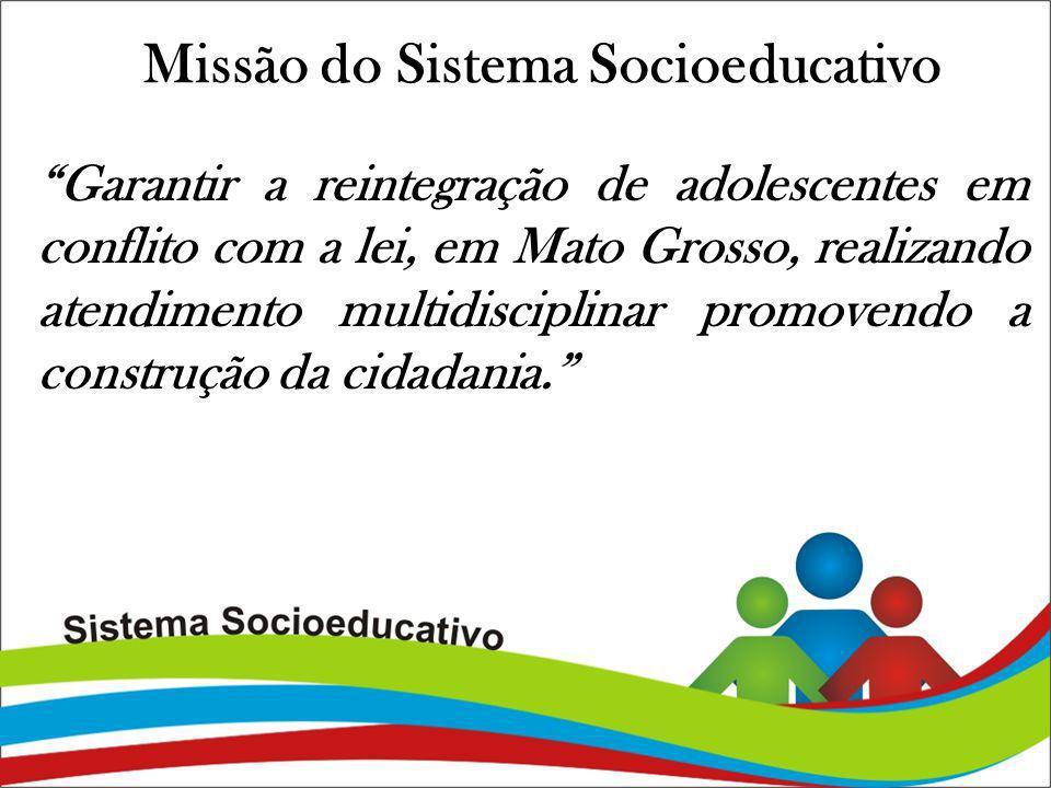 Missão do Sistema Socioeducativo Garantir a reintegração de adolescentes em conflito com a lei, em Mato Grosso, realizando atendimento multidisciplina
