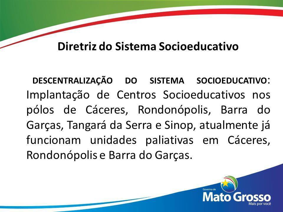 Diretriz do Sistema Socioeducativo DESCENTRALIZAÇÃO DO SISTEMA SOCIOEDUCATIVO : Implantação de Centros Socioeducativos nos pólos de Cáceres, Rondonópo