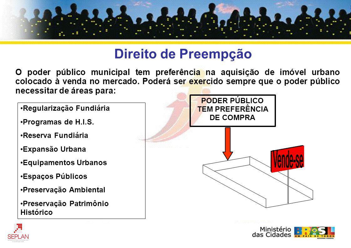 Direito de Preempção O poder público municipal tem preferência na aquisição de imóvel urbano colocado à venda no mercado. Poderá ser exercido sempre q