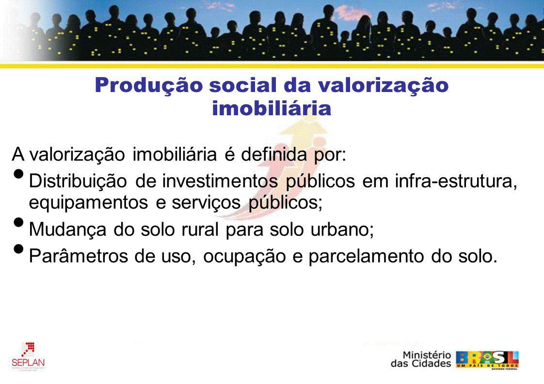 A valorização imobiliária é definida por: Distribuição de investimentos públicos em infra-estrutura, equipamentos e serviços públicos; Mudança do solo