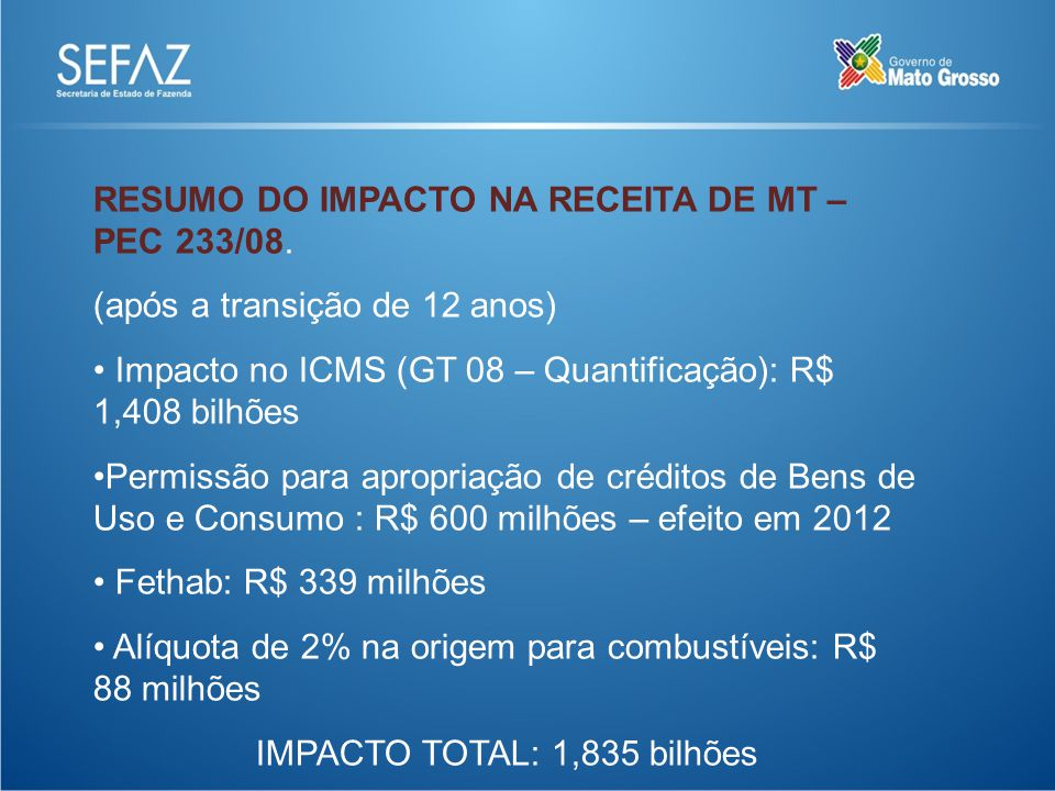 RESUMO DO IMPACTO NA RECEITA DE MT – PEC 233/08.