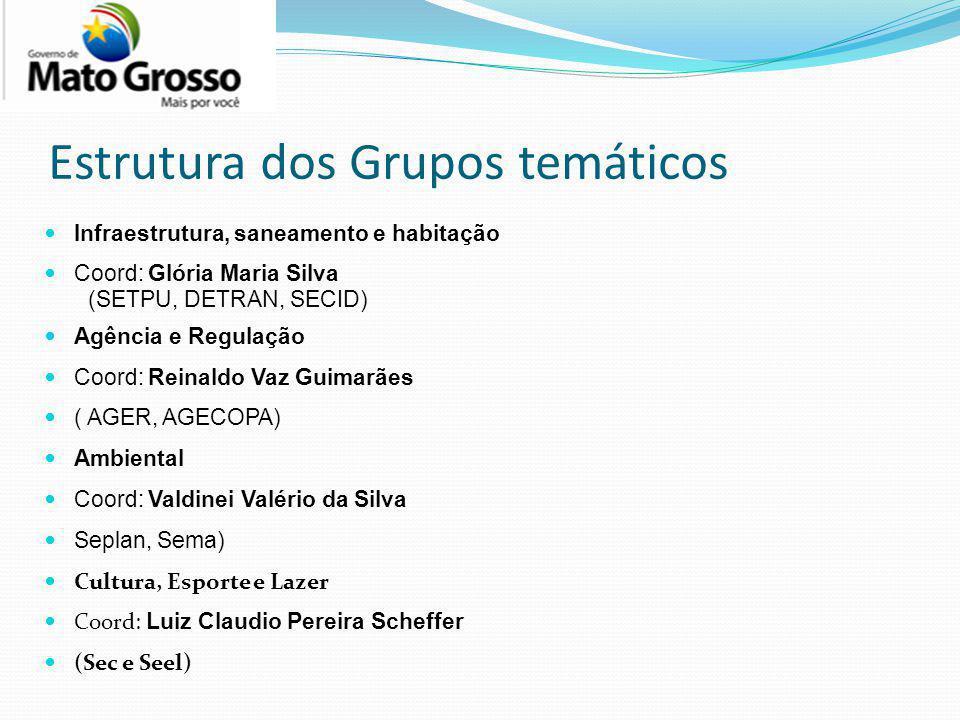 Estrutura dos Grupos temáticos Infraestrutura, saneamento e habitação Coord: Glória Maria Silva (SETPU, DETRAN, SECID) Agência e Regulação Coord: Rein