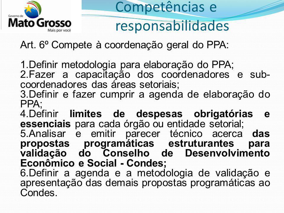 Competências e responsabilidades Art. 6º Compete à coordenação geral do PPA: 1.Definir metodologia para elaboração do PPA; 2.Fazer a capacitação dos c