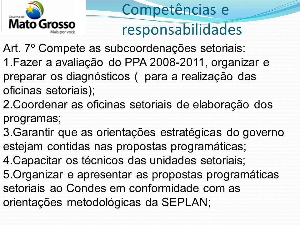 Competências e responsabilidades Art. 7º Compete as subcoordenações setoriais: 1.Fazer a avaliação do PPA 2008-2011, organizar e preparar os diagnósti
