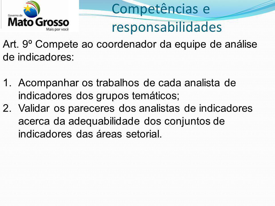 Competências e responsabilidades Art. 9º Compete ao coordenador da equipe de análise de indicadores: 1.Acompanhar os trabalhos de cada analista de ind