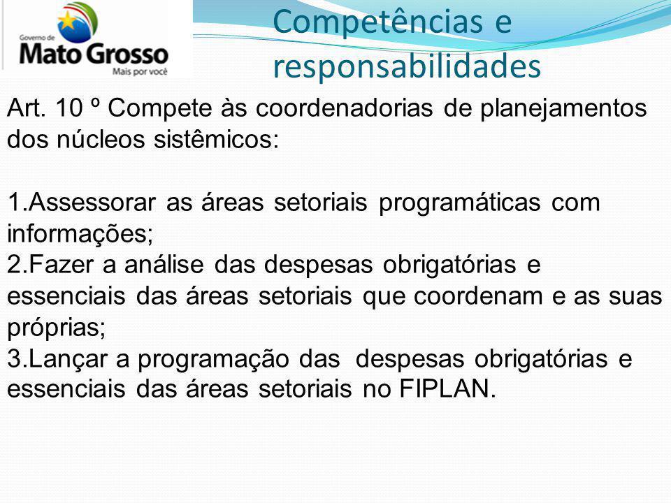 Competências e responsabilidades Art. 10 º Compete às coordenadorias de planejamentos dos núcleos sistêmicos: 1.Assessorar as áreas setoriais programá