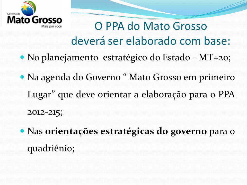O PPA do Mato Grosso deverá ser elaborado com base: No planejamento estratégico do Estado - MT+20; Na agenda do Governo Mato Grosso em primeiro Lugar que deve orientar a elaboração para o PPA 2012-215; Nas orientações estratégicas do governo para o quadriênio;