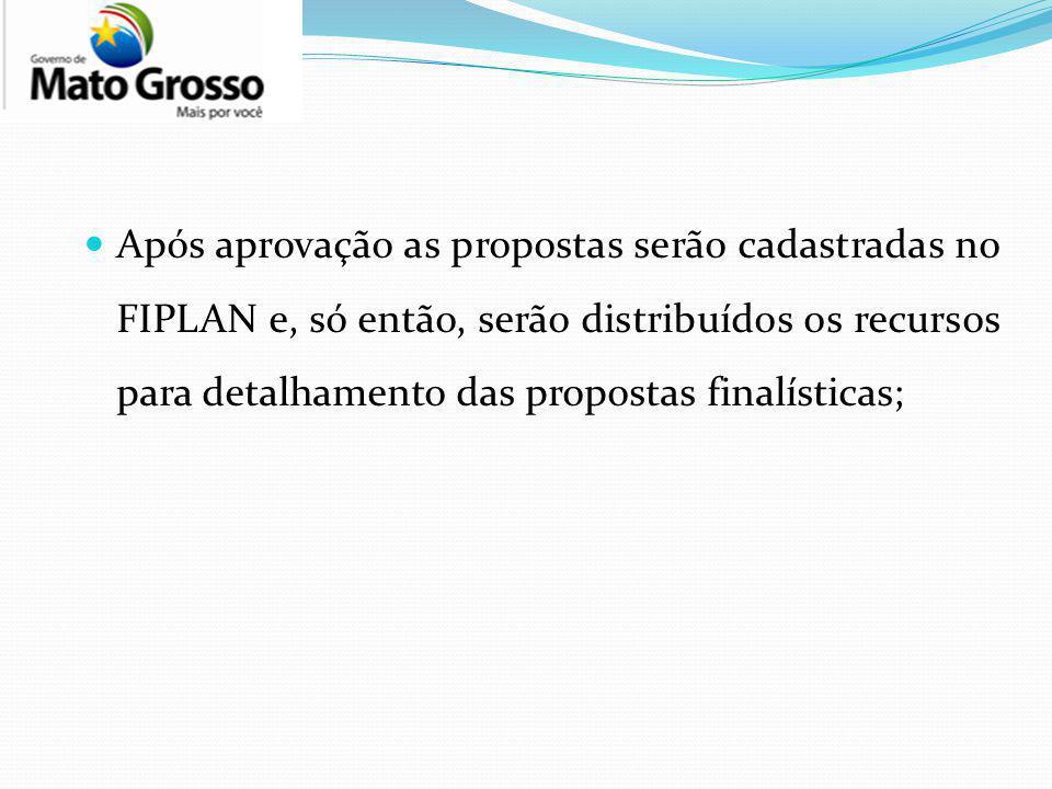 Após aprovação as propostas serão cadastradas no FIPLAN e, só então, serão distribuídos os recursos para detalhamento das propostas finalísticas;