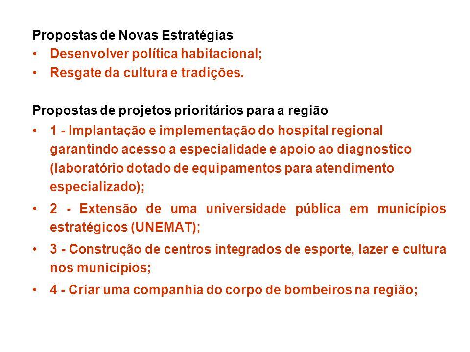 Propostas de Novas Estratégias Desenvolver política habitacional; Resgate da cultura e tradições.