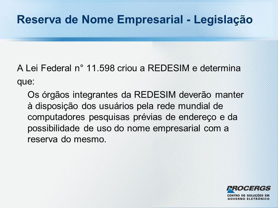 Reserva de Nome Empresarial - Ganhos 1.Reduz o volume de exigências por erro de nome (mais de 30% na JUCERGS).