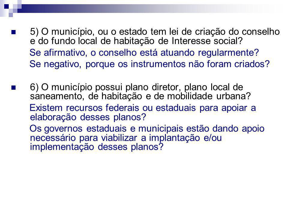 5) O município, ou o estado tem lei de criação do conselho e do fundo local de habitação de Interesse social? Se afirmativo, o conselho está atuando r