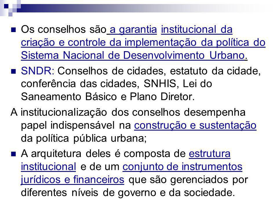 Os conselhos são a garantia institucional da criação e controle da implementação da política do Sistema Nacional de Desenvolvimento Urbano. SNDR: Cons